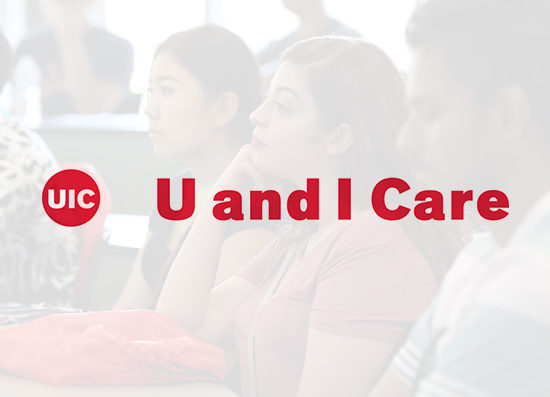 Students learning, and TEXT: U and I Care