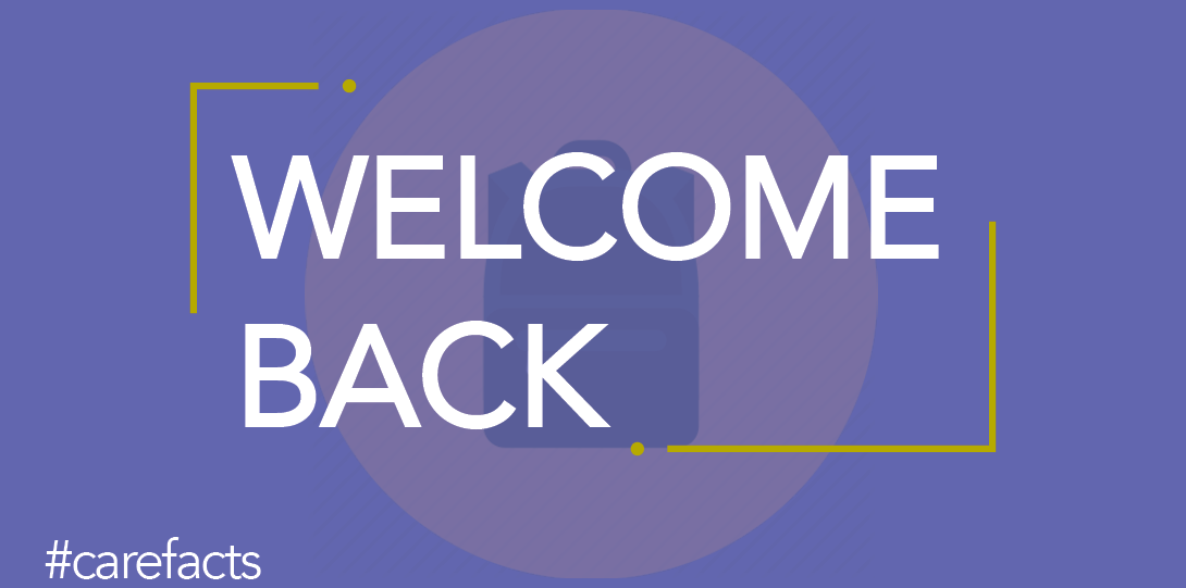 text: welcome back and #care facts in purple background