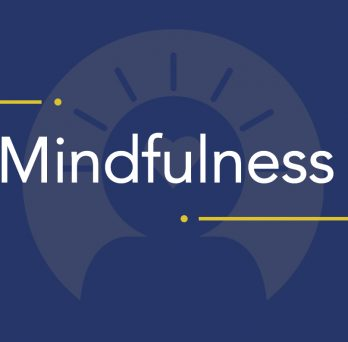Text: Mindfulness & #carefact, image: animated silhouette