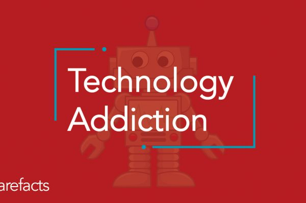 text: technology addiction with red background