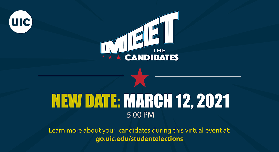 Text: Meet the Candidates, date and time